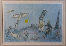 CHAGALL, MARC (1887 - 1985)  ORIGINAL LITHOGRAPH, THE ARTIST AS A PAINTER