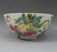 IMPERIAL CHINESE ANTIQUE FAMILLE ROSE PEACH BOWL - YONGZHENG MARK AND PERIOD