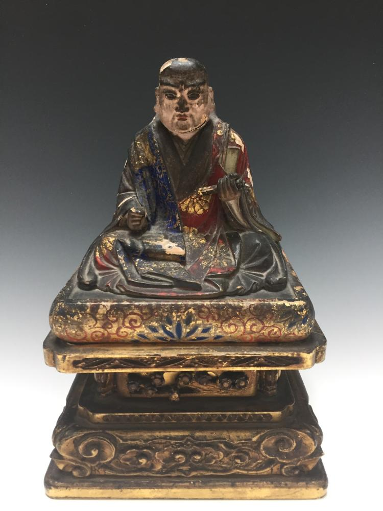 Japanese antique wood figure with base for Asian antiques uk
