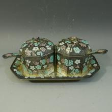 KOREAN .999 PURE SILVER ENAMEL TABLE SET - 704 GRAMS
