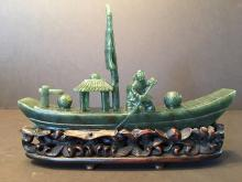 ANTIQUE Large Chinese Green Jade (BI Jade) Boat, 18th-19th Century