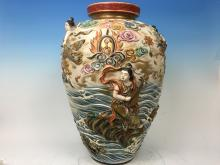 ANTIQUE Japanese Huge Satsuma Urn Vase with figurines, Meiji period. Marked on the bottom