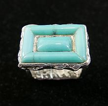 STERLING SILVER TURQUOISE SQUARE RING - SIGNED PB