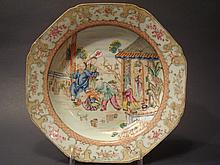 ANTIQUE Chinese Famille Rose Shallow Bowl with courtyard figurines, late 18th century.  9 1/4