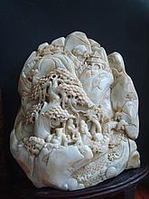 OLD Chinese Celadon White Jade Mountain Carvings. 21