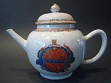 ANTIQUE Chinese Famille Rose Armorial Teapot. 18th C.  6 1/2