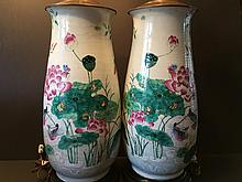 ANTIQUE Chinese Large Famillie Rose flower Vase Lamps, early 19th century. Vase itself 18