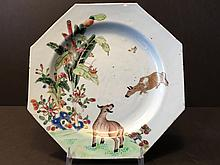 ANTIQUE Chinese Famillie Rose Plate with flowers & OX in water, 18th Century. 9