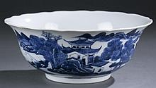 ANTIQUE Large Chinese Blue and White Bowl with Landscapes, Daoguang mark and period, Ca 1850's.  8 1/2