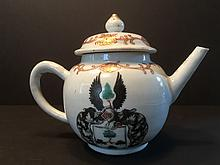 ANTIQUE Chinese Large Armorial Teapot, 18th Century, Qianlong period.  5 1/2