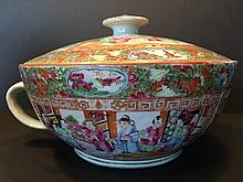 ANTIQUE Chinese Famille Rose Medallion Chamber Bowl, mid 19th Century, 11 1/2