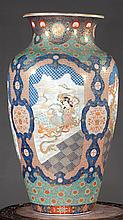 ANTIQUE Japanese Huge Flower Vase with Figurines, Ca 1875. 30