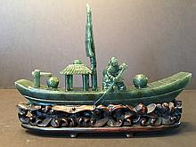 ANTIQUE Chinese Old Green jade (Bi Yu) Boat, 18th-19th Century. 7 1/2