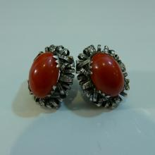 PAIR STERLING SILVER RED CORAL CABOCHON EARRINGS