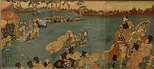 UTAGAWA KUNISADA (1786 - 1865).  JAPANESE UKIYO-E WOODBLOCK TRIPTYCH