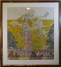 PHILLIP BROWN PARSONS (1895 -1977), VICTORY PARADE, PASTEL PAINTING