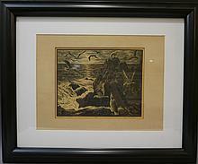 LEO MEISSNER (1895 - 1977) SEA GULLS ORIGINAL WOOD ENGRAVING