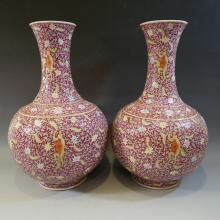 PAIR ANTIQUE CHINESE FAMILLE ROSE PORCELAIN VASE - 19TH CENTURY