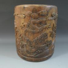 ANTIQUE CHINESE HUANGHUALI BRUSH POT - QING DYNASTY