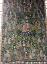 A BUEATIFUL OLD INDIAN PAINTING ON FABRIC.