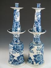 Pair of Chinese Blue and White Porcelain Candle