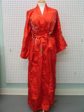 Chinese Red Embroidery Silk Robe