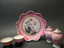 ANTIQUE Chinese Famille Rose Lotus Shallow Bowl, tea bowls, Jars, 18th C