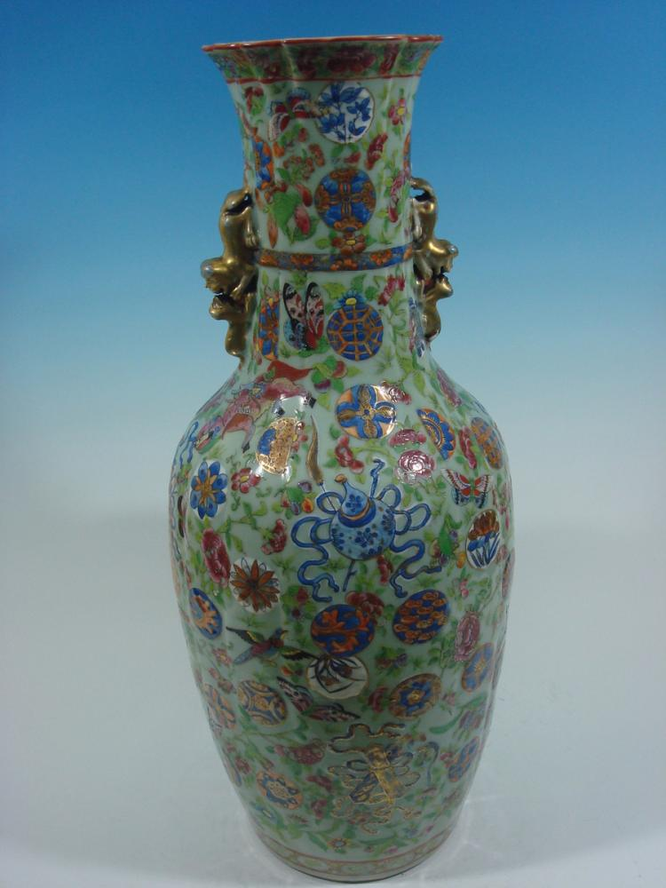 Antique chinese celadon baofuping vase with treasures dao for Asian antiques uk