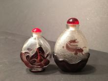 OLD pair Chinese Peking Glass snuff bottles, 3