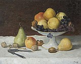 Natura morta di frutta con vaso. Firmato in basso