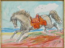 GONZAGA GIOVAN FRANCESCO (1921 - 2007) Riding on the beach.