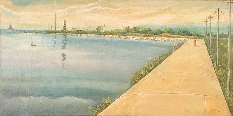 PINO PONTI (1905-1999) Marina Firmato in basso a