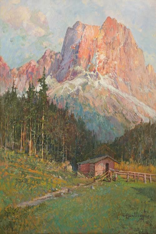 CESARE BENTIVOGLIO (1868-1952) Casolare con bosco