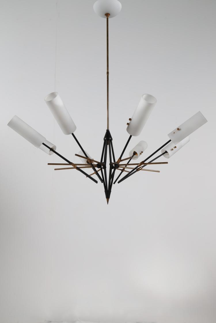 lampadario stilnovo : STILNOVO Lampadario in ottone metallo laccato e vetro opalino a otto ...