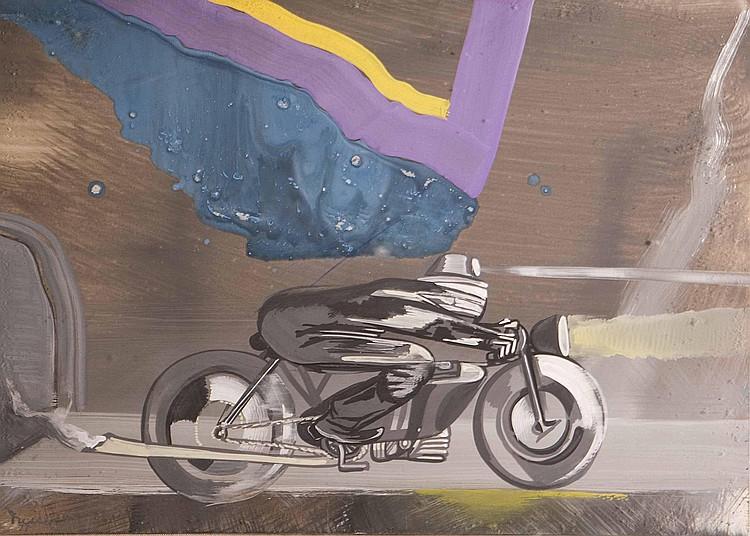 GASTON ORELLANA Motociclista Acrilico su cartone