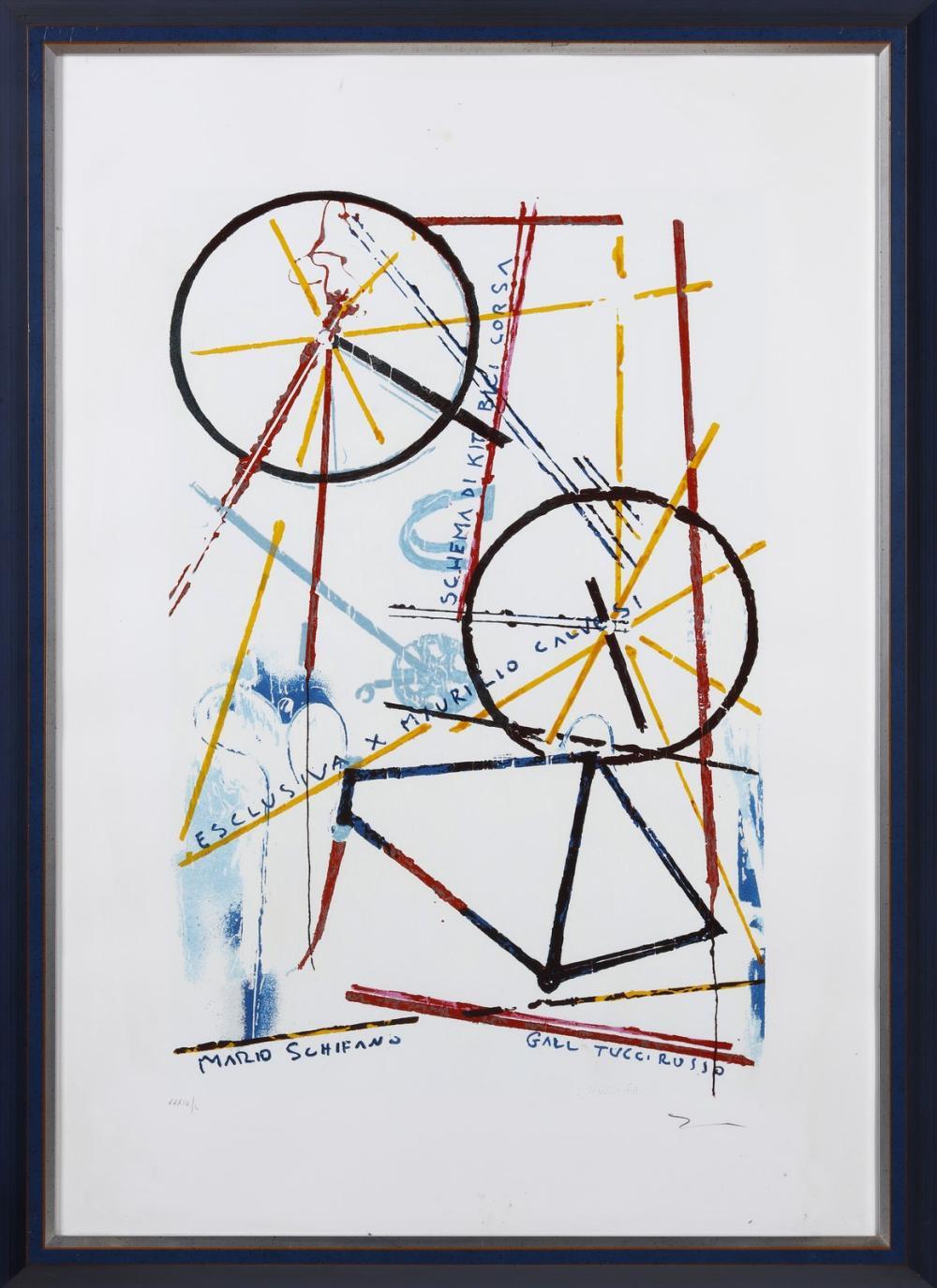 SCHIFANO MARIO (1934 - 1998) Schema di Kit bici da corsa.