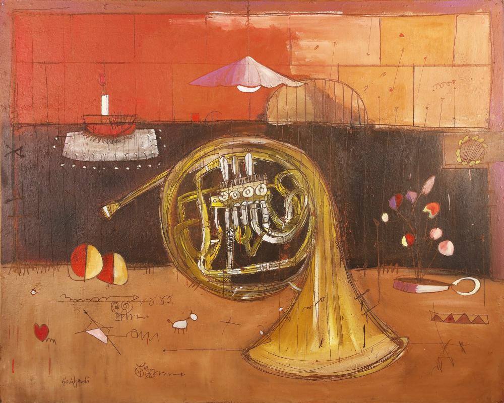 GIOVAGNOLI LUCA (n. 1963) Interno con corno.