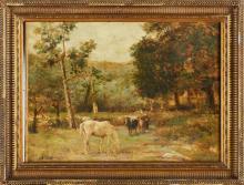 CALDERINI MARCO (1850 - 1941) Paesaggio. Olio su tela . Cm 31x43. Firmato in basso a sinistra. Cornice presente