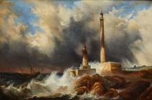 AMUS EUGENIO (1834 - 1899) Marina in tempesta con faro. Olio su tela . Cm 62x92. Firmato in basso a destra.
