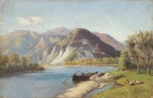 FERRARI GIOVANNI BATTISTA (1829 - 1906) Lago d'Idro. Olio su cartone pressato. Cm 40x60. Firmato in basso a destra. Cornice presente