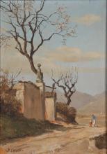 LEIDI PIETRO (1892 - 1930) Paesaggio con figure. . 1932. Olio su tavola. Cm 21x15. Firma in basso a sinistra. Al retro firma e anno.