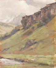 LEIDI PIETRO (1892 - 1930) Paesaggio di Valcamonica. Olio su cartone. Cm 50x40. Firma in basso a destra. Cornice presente