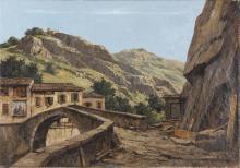 LEIDI PIETRO (1892 - 1930) Paesaggio. . Olio su tela . Cm 70x100. Firma in basso a destra. . Cornice presente