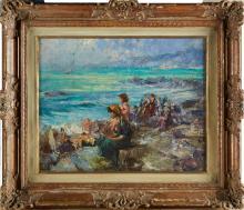 TAFURI CLEMENTE (1903 - 1971) Donne in riva al mare. Olio su tela . Cm 40x50. Firma in basso a destra. Parere verbale di Lucio Tafuri che ha confermato l'autenticità dell'opera. Cornice presente