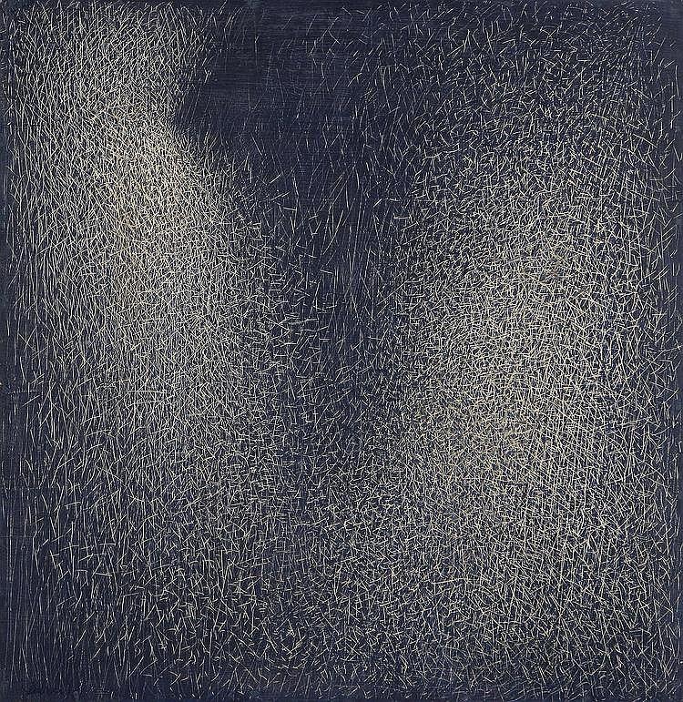DE LUIGI MARIO (1901 - 1978) Grattage viola-grigio.