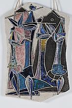 Piastra in ceramica smaltata con  figure cubiste, anni 50