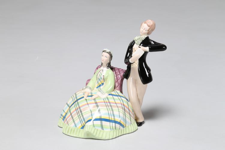 Coppia di fidanzati in ceramica, anni 40
