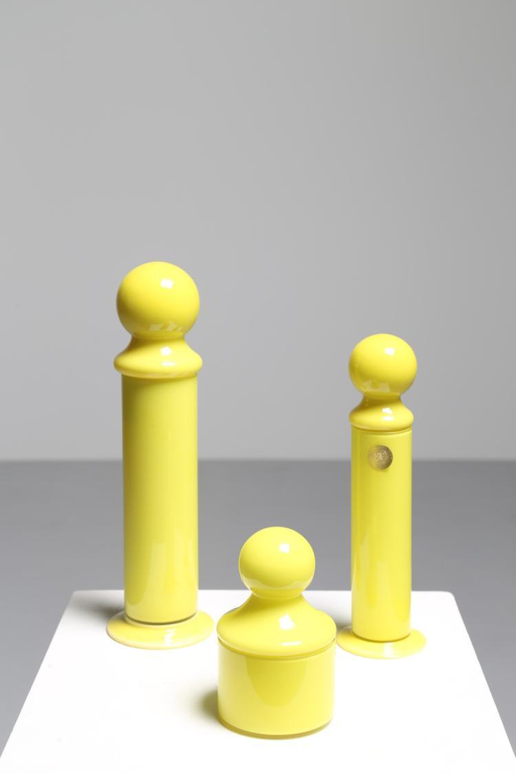 Tre contenitori in vetro giallo, Murano anni 70