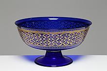 Coppa nuziale  in vetro blu cobalto decoro in oro, Murano anni 50