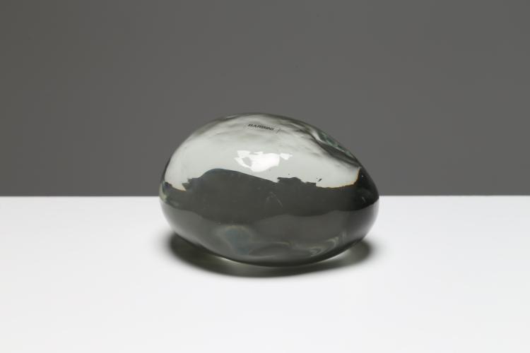 Sasso scultura in vetro trasparente, per Barbini Murano, anni 70